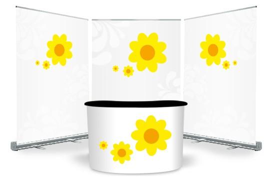 Set für Ausstellung Rollup-Displays und Tresen bestellen Digitaldruck