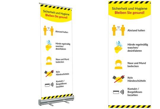 corona sicherheit hygiene Rollup Display Digitaldruck