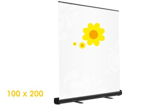 schwarz rollupdisplay digitaldruck auf Plane drucken 100x200